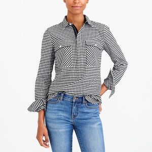 J. Crew Gingham Shirt Jacket Pullover